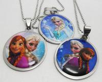 24pcs/lot Frozen Ana Elsa Stainless Steel Pendant Necklaces Wholesale Party Favor  Fashion Jewelry Lots