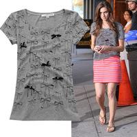 Free Shipping New Fashion 2014 women clothing bow rhinestones print slim all-match T-shirt woman short-sleeve top