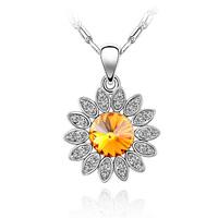 Fresh chrysanthemum flower austrian crystal 925 silver fashion accessories fashion jewelry pendant