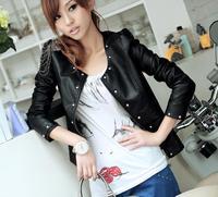 Vintage 2014 Hot Selling Women PU Epaulette Zipper Leather Rivet Slim Fit Crew Neck Short Jacket Nice Coat Free Shipping 48