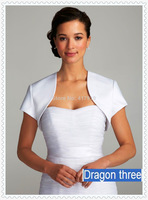 Elegant 2014 Satin Short Sleeve Bridal Bolero Jacket Wrap Shawl Prom Wedding Accessory B108