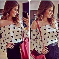 Fashion New 2014 love heart Print Long Sleeve Shirts Women brand Chiffon Blouse Summer lolita crop Tops