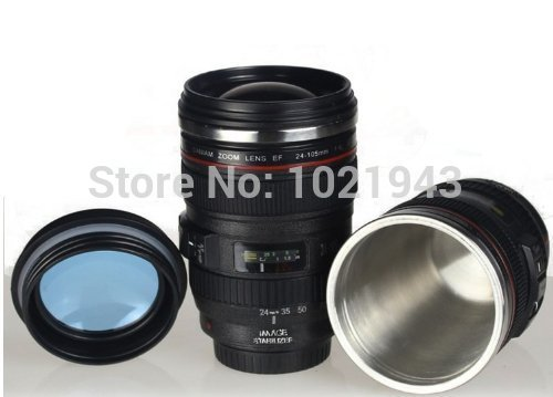 New Looks Like Canon SLR Lens 24-105mm Travel Coffee Mug / Cup / Thermos with Drinking Lid Stainless Steel(China (Mainland))