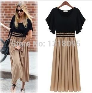 New Fashion 2014 Pluz Size Bohemian Women's High Waist Ruffle Sleeve Sexy Vintage Long Chiffon Maxi Dress Wholesale(China (Mainland))