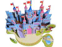 Hot selling paper foam Children 3D diy puzzle-Blue Castle