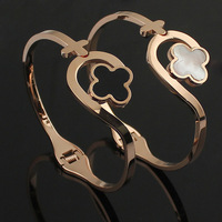 Free shipping,2014 new jewelry women's men Style 361L Titanium Steel Bracelet Lovers bracelet silver rose gold clover bangle