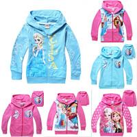 Hot sale New Style Girls Frozen Hoodie clothes Elsa Anna jacket faddish long sleeved zipper outerwear Children's wear 6pcs/lot