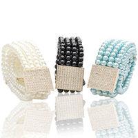Free Shipping cheap ladies wild pearl diamond  belt