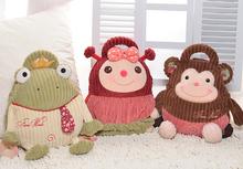 New arrive 1pc 35cm cartoon metoo happy animal cat frog monkey pig dog mouse plush backpack baby bag fashion children gift toy(China (Mainland))