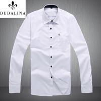 men shirt casual shirts dudalina man 2014 brand men's slim fit male blouse camisa camisetas masculinas roupas masculino