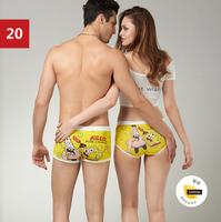 (1 set = 2pcs ) Cotton Cartoon Seamless Lovers Underwear Set ~ Ladies' underwear + Men's Boxer Shorts