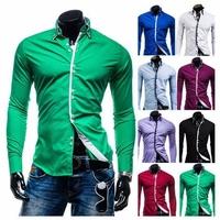 2014 Men's Slim fit Unique Double collar Mixed colors plaid placket design Dress long Sleeve Shirts Men dress shirts  M-XXL,8692