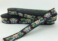 "2014 NEW  wholesale 5/8""+7/8""(16mm+22mm 20y/lots) Polyester Skull Tattoo Black Tone Woven Jacquard Ribbon For Dog Collar"
