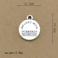 Infused with energy technology words engraved on the plate can custom made according to your words charms