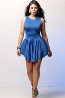 2014 New Spring Summer White Bandage Dress Sexy Mini Casual Vestidos Sleeveless Pleated Club Dresses Black Red Blue Pink Colors