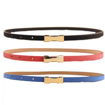 7 Цветs Metal Buckle Тонкий Женщины's Leather Belt Factory Small lady belt ...