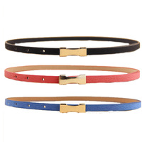 7 colors Metal Buckle Thin Women's Leather Belt  Factory wholesale Small lady belt Waist Accessories free shipping 2014 PT37
