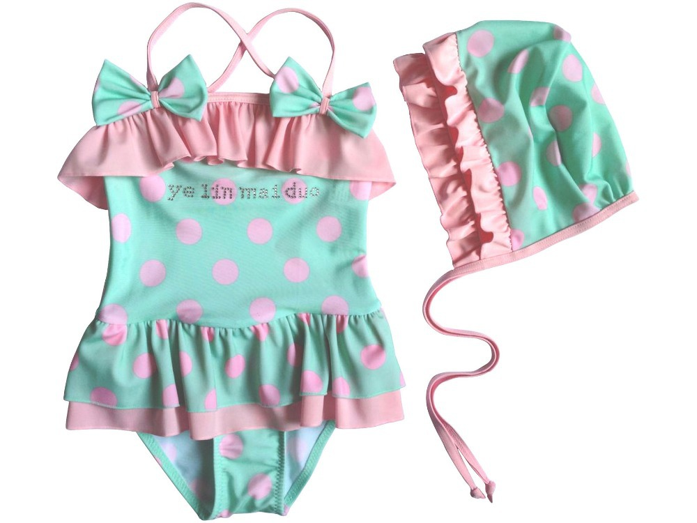 Free shipping children dot swimwear baby girls swimsuits one piece bathing suits(China (Mainland))