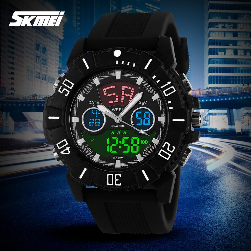 Sports Fashion Men Analog Digital Watches Cool Dual Time Chronograph Wristwatch Rubber Band Alarm Clock 5ATM Water proof NW780(China (Mainland))