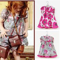 Momo - New  wholesale children's clothing for girls, Brand Flower print dresses multicolor dress flouncing, floral, 5pcs/lot