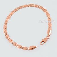 1pcs 18cm 20cm 22cm 4.5mm Man Woman 18K Rose Gold Filled Nail Bracelet Link Chain E191