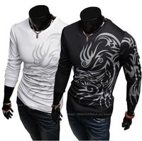 2014 New Arrival Men's Round Neck T shirts Fashion Spring Autumn Male Tattoo printing Elegant Shirts