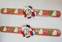 Wholesale 100pcs/lot! 2014 Lovely Hot Pink Hello Kitty  Snap Watch Cartoon Slap Watch Rubber Jelly Watch A3385 Free Shipping