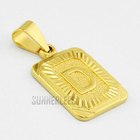 New Fashion Jewelry Mens Womens D Letter 18K Yellow Gold Filled Pendant Necklace Free Shipping GFP24