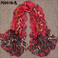 Long Chiffon Silk Scarf/1PC 50*160cm Fashion Design Ripple Print Woman decorative scarves/WJ-288