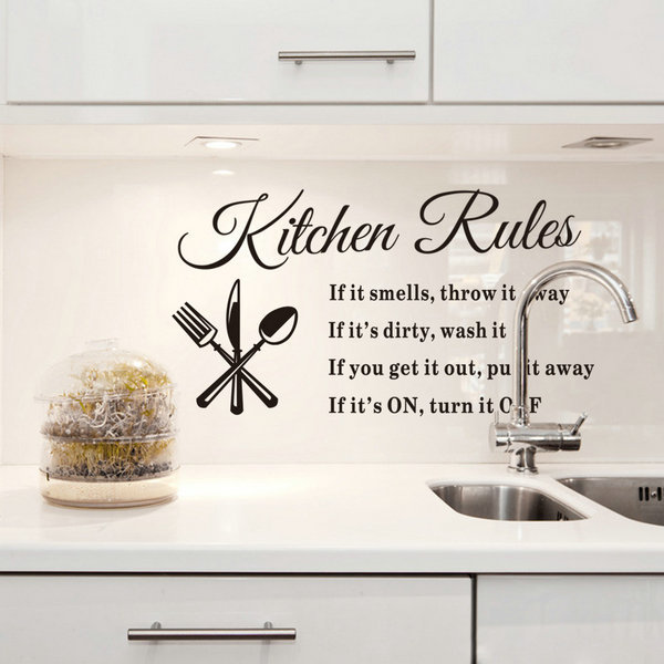 Keuken Decoratie Stickers : Kitchen Rules Vinyl Wall Quotes