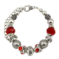 2014 new fashion vintage beaded silver bracelet , silver plated alloy  bracelet environmental protection