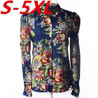 S-4XL 2014 new fashion women long sleeve chiffon shirt loose printed florals plus size blouse free shipping