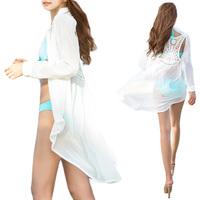 Women Sexy Lace Crochet Sheer Boho Beach Dress Chiffon Shirt Long Sundress