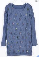 New 2014Hot Sell Fashion Blouse Women'S Cute Cartoon Giraffe Loose Bat  Round Neck Long-Sleeved Casual T-Shirt  WC1354