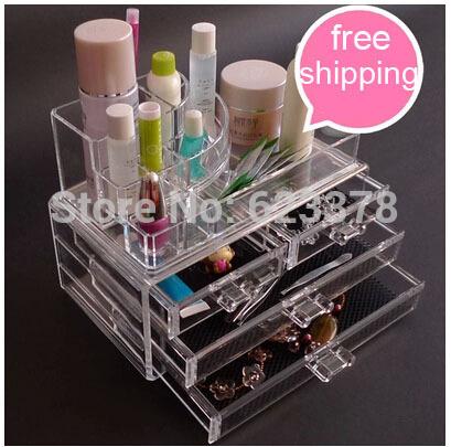 2014 Apressado Maquiagem Glossy 4 estojo de maquiagem plástica caixa de armazenamento Cosmetic acrílico Gavetas com armário novo detentor da gaveta(China (Mainland))