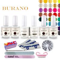 Free Shipping Nail kit Art Soak Off Uv Gel Polish Manicure Topcoat+basecoat +4color uv gel Set 003