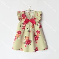 Momo - 2014 summer new children's clothing wholesale dot / printing flwoer dresses for girls, 5pcs/lot free shipping