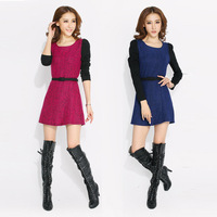 New Winter 2013 Dress Patchwork With Belt Two-Color Round Neck Pullover Dress Stitching Zipper Blue Rose ECO-31