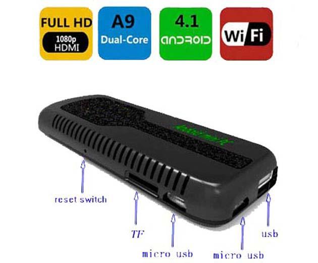 Mini Android 4.1 Dual Core Cortex A9 Rockchip3066 HDMI PC Smart Google TV Box/Stick/ Player with Bluetooth WIFI 1GB RAM 8GB ROM(China (Mainland))