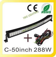 50 inch 288W Curved LED Light Bar for Driving Work Boat Car Truck SUV ATV OffRoad Spot Flood Combo Beam Fog Lamp 12V 24V