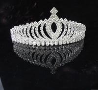 # Korean rhinestone Crown Tiara Peach Heart Elegant  Crystal bridal hair Jewelry Wedding Bride Party B18
