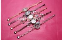 20pcs/lot 5 colors Round with rhinestones magnet glass Floating locket bracelets , living locket bracelet