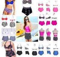 Hot Women RETRO Pinup Rockabilly Vintage Sexy High Waist Bikinis Set Swimsuit Swimwear Push Up Bathing Suit Beachwear Bikinis
