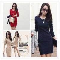Korean Women Desigual Dress Solid Full Sleeve O-Neck Slim Bodycon Vestido Casual  Bandage Dress OL Women Autumn&Winter Dress