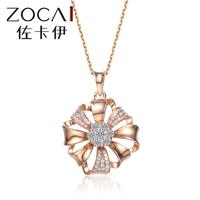 ZOCAI FLOWER SHAPE 0.25 ct genuine diamond118K rose gold pendant with 925 silver chain necklace
