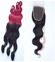 Brazilian hair extension body wave 3 bundles with 1pc lace closures, 1b/burg t-color hair weft with natural color lace closure