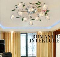 Modern K9 Crystal Leaves Aluminium Glass Balls Shade LED Ceiling Light Crystal Light Living Room Lights Bedroom Lights, EMS Free
