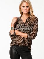 The new spring/summer outfit female shirt joker big yards shirt leisure leopard print chiffon unlined upper garment jacket
