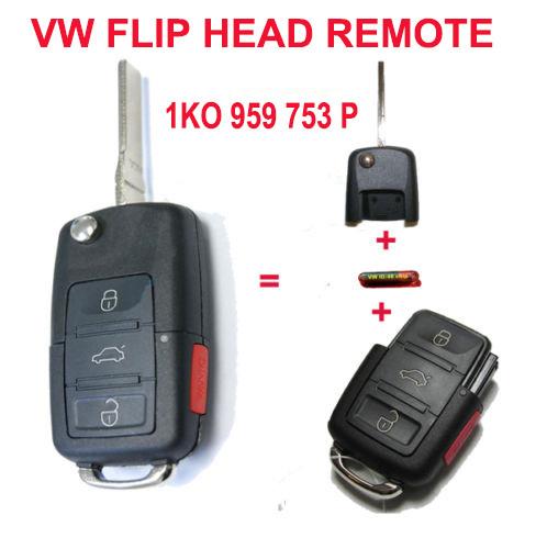 1K0 959 753 P 1K0959753P Folding Key Keyless Entry Remote Transmitter For 2006-2009 VOLKSWAGEN GOLF GTI 3+1B 315MHZ ID48 Chip(China (Mainland))