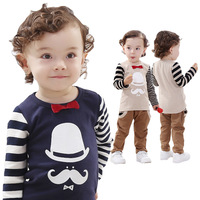 Retail Children's Clothing 2014 New, 100% Cotton, Lovely Style Of Modern Times Leisure Long Sleeve + Pants Suit Free Shipping